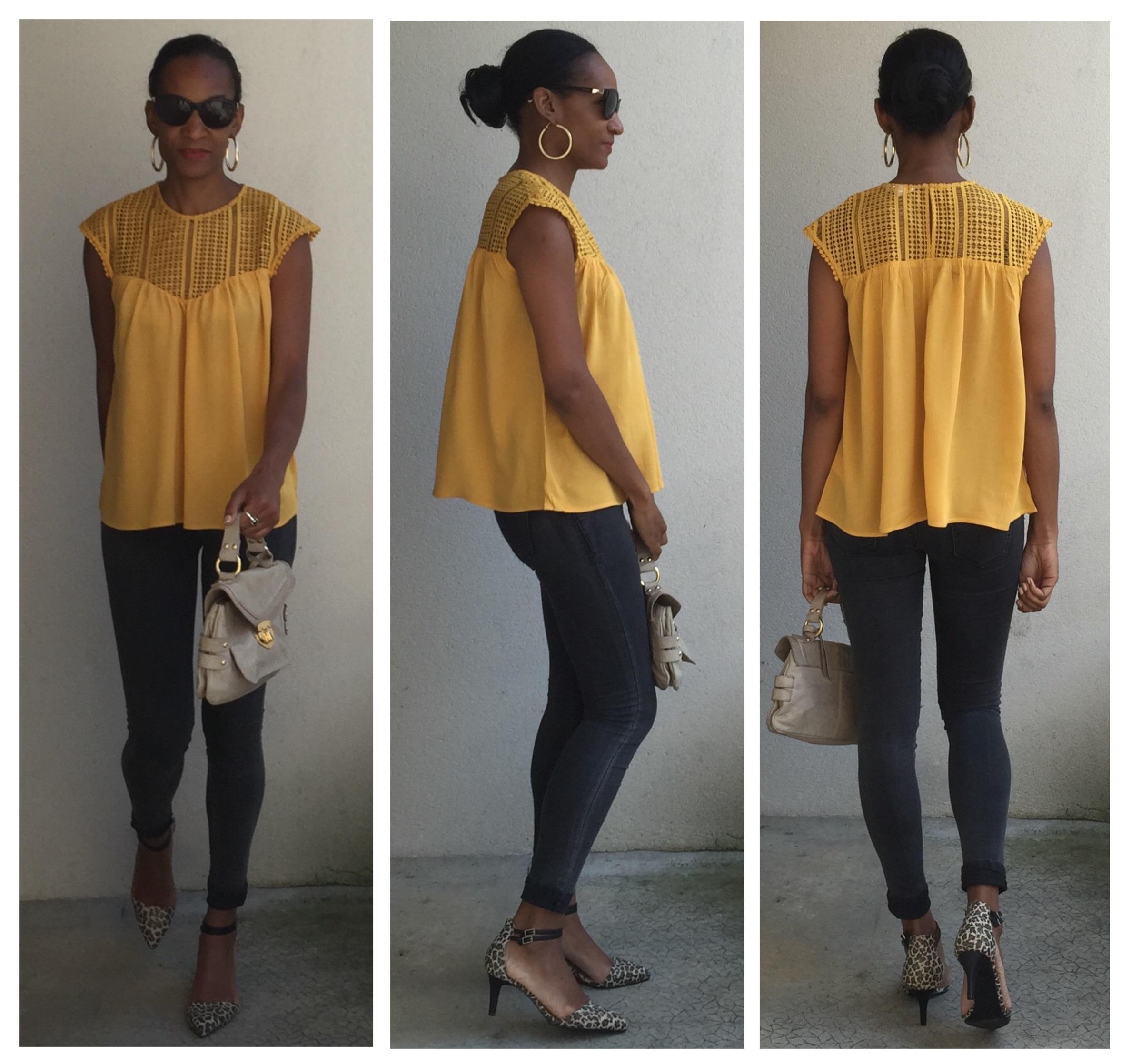 look la blouse jaune moutarde trendyslemag. Black Bedroom Furniture Sets. Home Design Ideas